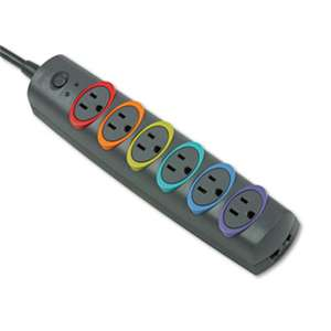 Kensington 62144 SmartSockets Color-Coded Strip Surge Protector, 6 Outlets, 8ft Cord, 1260 Joules