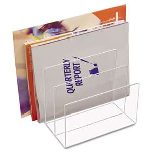 KANTEK INC. Clear Acrylic Desk File, Three Sections, 8 x 6 1/2 x 7 1/2, Clear