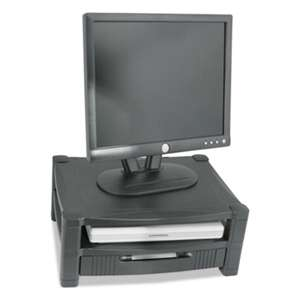 Kantek MS480 Two Level Stand, Removable Drawer, 17 x 13 1/4 x 3-1/2 to 7, Black
