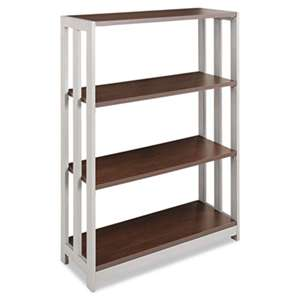 LINEA ITALIA Trento Line Bookcase, Three-Shelf, 31-1/2w x 11-5/8d x 43-1/4h, Mocha