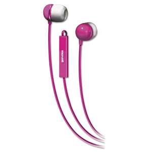 MAXELL CORP. OF AMERICA In-Ear Buds with Built-in Microphone, Pink