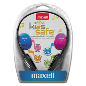 MAXELL CORP. OF AMERICA Kids Safe Headphones, Pink/Blue/Silver