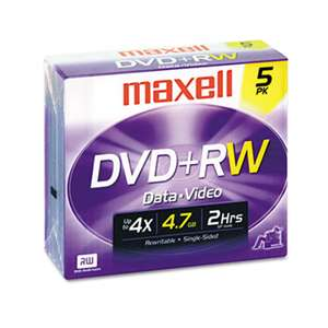 MAXELL CORP. OF AMERICA DVD+RW Discs, 4.7GB, 4x, w/Jewel Cases, Silver, 5/Pack
