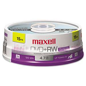 MAXELL CORP. OF AMERICA DVD+RW Discs, 4.7GB, 4x, Spindle, Silver, 15/Pack
