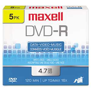 MAXELL CORP. OF AMERICA DVD-R Discs, 4.7GB, 16x, w/Jewel Cases, Gold, 5/Pack