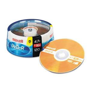 MAXELL CORP. OF AMERICA DVD-R Discs, 4.7GB, 16x, Spindle, Gold, 15/Pack