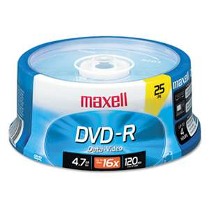 MAXELL CORP. OF AMERICA DVD-R Discs, 4.7GB, 16x, Spindle, Gold, 25/Pack