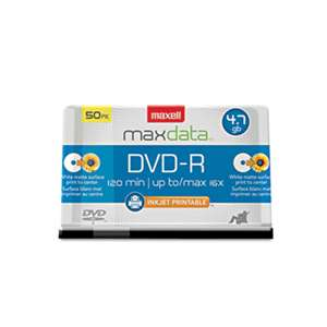MAXELL CORP. OF AMERICA DVD-R Recordable Discs, Printable, 4.7GB, 16x, Spindle, White, 50/Pack