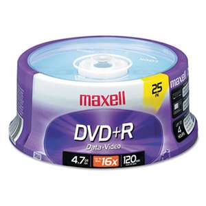 MAXELL CORP. OF AMERICA DVD+R Discs, 4.7GB, 16x, Spindle, Silver, 25/Pack