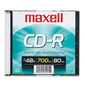 MAXELL CORP. OF AMERICA CD-R Disc, 700MB/80min, 48x, w/Slim Jewel Case, Silver