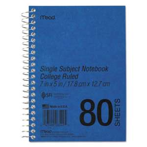 MEAD PRODUCTS DuraPress Cover Notebook, College Rule, 7 x 5, White, 80 Sheets