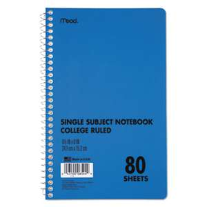 MEAD PRODUCTS DuraPress Cover Notebook, College Rule, 9 1/2 x 6, White, 80 Sheets