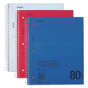 MEAD PRODUCTS DuraPress Cover Notebook, College Rule, 11 x 8 1/2, White, 80 Sheets