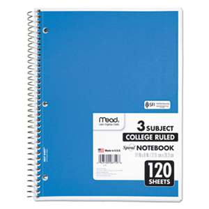 MEAD PRODUCTS Spiral Bound Notebook, Perforated, College Rule, 11 x 8, White, 120 Sheets