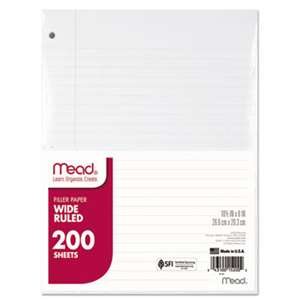 MEAD PRODUCTS Filler Paper, 15lb, Wide Rule, 3 Hole, 10 1/2 x 8, 200 Sheets
