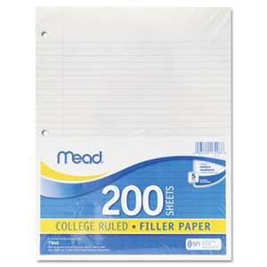 MEAD PRODUCTS Filler Paper, 15lb, College Rule, 11 x 8 1/2, White, 200 Sheets