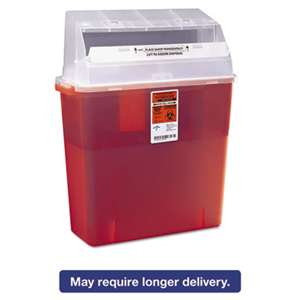 MEDLINE INDUSTRIES, INC. Sharps Container for Patient Room, Plastic, 3gal, Rectangular, Red