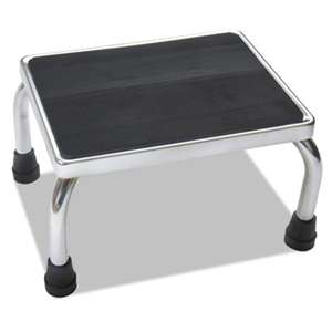 MEDLINE INDUSTRIES, INC. Foot Stool, 16w x 12d x 8 1/4h, Steel, Chrome/Black Mat