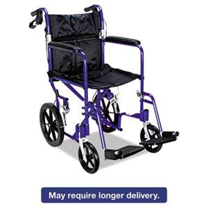 MEDLINE INDUSTRIES, INC. Excel Deluxe Aluminum Transport Wheelchair, 19w x 16d, 300lb Cap