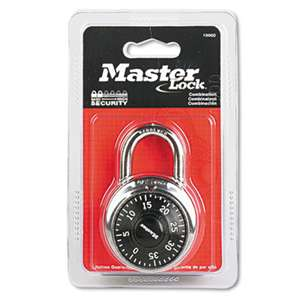 "MASTER LOCK COMPANY Combination Lock, Stainless Steel, 1 15/16"" Wide, Black Dial"