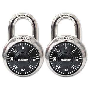 "MASTER LOCK COMPANY Combination Lock, Stainless Steel, 1 7/8"" Wide, Black Dial, 2/Pack"
