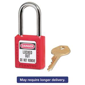 "MASTER LOCK COMPANY Government Safety Lockout Padlock, Zenex, 1 1/2"", Red, 1 Key, 6/Box"