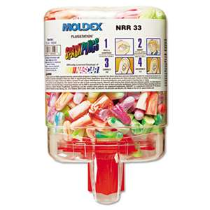 MOLDEX-METRIC, INC. SparkPlugs PlugStation Dispenser, Cordless, 33NRR, Asst. Colors, 250 Pairs