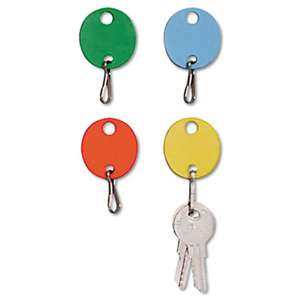 MMF INDUSTRIES Oval Snap-Hook Key Tags, Plastic, 1 1/2 x 1 1/2, Assorted, 20/Pack