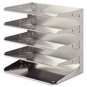 MMF INDUSTRIES Soho Horizontal Organizer, Letter, Five Tier, Steel, Silver