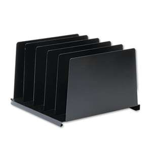 MMF INDUSTRIES Angled Vertical Organizer, Five Sections, Steel, 14 1/2 x 9 7/8 x 8 3/4, Black