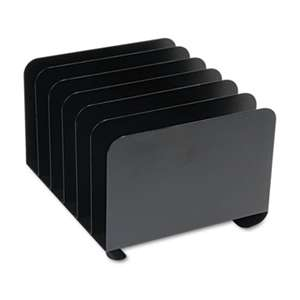 MMF INDUSTRIES Desktop Vertical Organizer, Six Sections, Steel, 12 x 11 x 8 1/8, Black