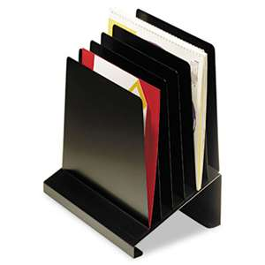 MMF INDUSTRIES Slanted Vertical Organizer, Six Sections, Steel, 11 x 7 1/4 x 11 1/2, Black