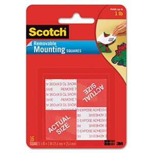 "3M/COMMERCIAL TAPE DIV. Precut Foam Mounting 1"" Squares, Double-Sided, Removable, 16/Pack"