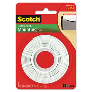 "3M/COMMERCIAL TAPE DIV. Foam Mounting Double-Sided Tape, 1/2"" Wide x 75"" Long"