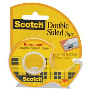 "3M/COMMERCIAL TAPE DIV. 665 Double-Sided Permanent Tape w/Hand Dispenser, 1/2"" x 450"", Clear"