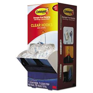 3M/COMMERCIAL TAPE DIV. Clear Hooks & Strips, Plastic, Medium, 50 Hooks w/50 Adhesive Strips per Carton