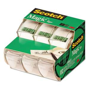 "3M/COMMERCIAL TAPE DIV. Magic Tape in Handheld Dispenser, 3/4"" x 300"", 1"" Core, Clear, 3/Pack"