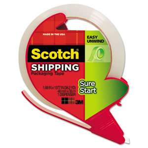 "3M/COMMERCIAL TAPE DIV. Sure Start Packaging Tape w/Dispenser, 1.88"" x 38.2 yards, 3"" Core, Clear"