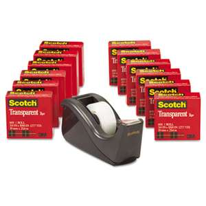 "3M/COMMERCIAL TAPE DIV. Transparent Tape Dispenser Value Pack, 1"" Core, Transparent, 12/Pack"