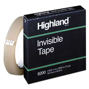 "3M/COMMERCIAL TAPE DIV. Invisible Permanent Mending Tape, 3/4"" x 2592"", 3"" Core, Clear"