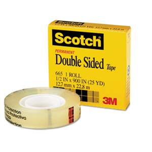 "3M/COMMERCIAL TAPE DIV. Double-Sided Tape, 1/2"" x 900"", 1"" Core, Clear"