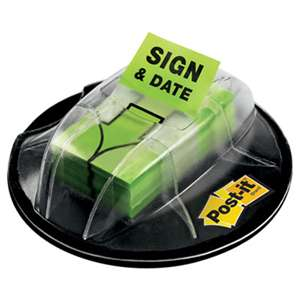 "3M/COMMERCIAL TAPE DIV. Page Flags in Dispenser, ""Sign & Date"", Bright Green, 200 Flags/Dispenser"