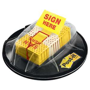 "3M/COMMERCIAL TAPE DIV. Page Flags in Dispenser, ""Sign Here"", Yellow, 200 Flags/Dispenser"
