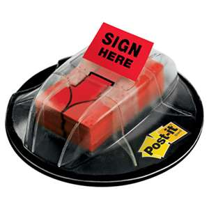 "3M/COMMERCIAL TAPE DIV. High Volume Flag Dispenser, ""Sign Here"", Red, 200 Flags/Dispenser"