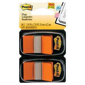 3M/COMMERCIAL TAPE DIV. Standard Page Flags in Dispenser, Orange, 100 Flags/Dispenser