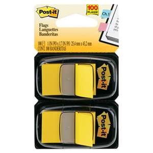 3M/COMMERCIAL TAPE DIV. Standard Page Flags in Dispenser, Yellow, 100 Flags/Dispenser
