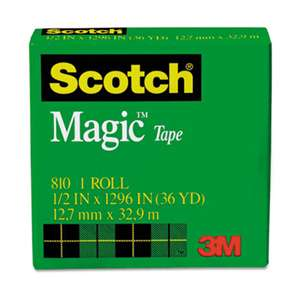 "3M/COMMERCIAL TAPE DIV. Magic Tape, 1/2"" x 1296"", 1"" Core, Clear"