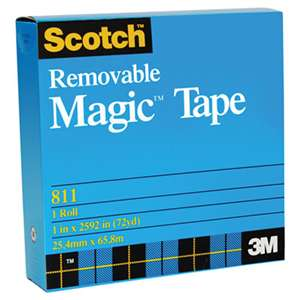 "3M/COMMERCIAL TAPE DIV. Removable Tape, 3/4"" x 1296"", 1"" Core, Transparent"