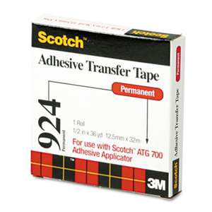 "3M/COMMERCIAL TAPE DIV. Adhesive Transfer Tape, 1/2"" Wide x 36yds"