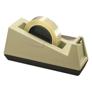 "3M/COMMERCIAL TAPE DIV. Heavy-Duty Weighted Desktop Tape Dispenser, 3"" Core, Plastic, Putty/Brown"